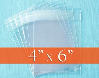 "100 4 x 6"" Inch Resealable Cello Bags, Clear Cellophane Plastic Packaging, Acid Free"