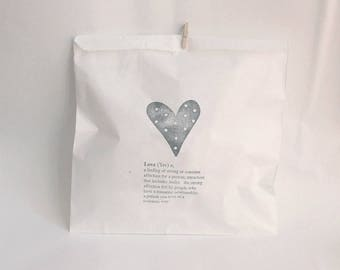 WEDDING favour bags, wedding cake bags, love stamp, wedding bags, thank you bags, love FAVOUR BAGS x 20