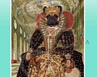 French Bulldog Tudor Queen Elizabeth Black Mask Fawn Giclee Print 8.5x 11 Wall Picture Anthropomorphic Anthro Art Artwork Gift Dog Old World