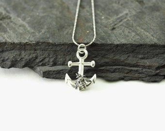 Anchor and Bee Necklace