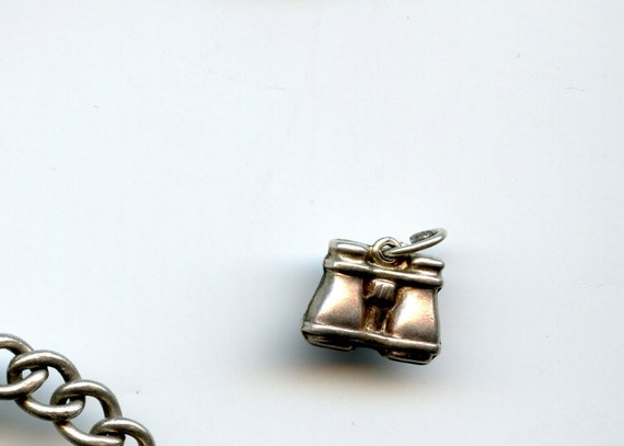 FREE SHIPPING-Vintage-1940's-Sterling-Silver-Binoculars-Charm-Hallmarked-3D-3/8""