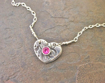 Silver Heart Locket Pink With Your Personalized Photo