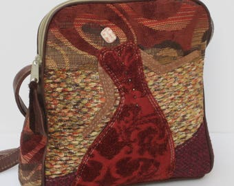 SHOULDER BAG by Elizabeth Z Mow  Fabric and Leather Collage Art  Rose Goes with the Flow