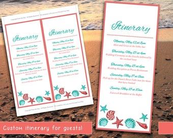 Beach Wedding Itinerary Template - Wedding Planner - Coral Teal Seashell Destination Wedding Coordinator - Wedding Guest Gift Basket