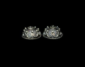 Four x 10mm 925 Sterling Silver Bali Bead Caps, 4 x Sterling Silver Bead Caps, 10mm. Four pcs Genuine Sterling Silver Bali Bead Caps