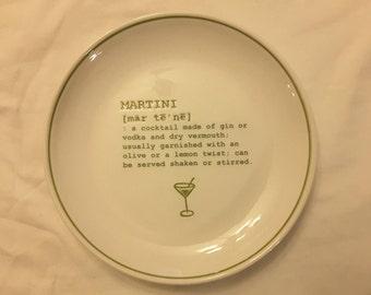 Martini recipe plate Vintage
