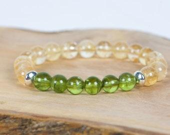 Citrine Gemstone Bracelet, Peridot Bracelet, Stacking Stretch Bracelet, Gemstone Bracelet, Handmade Jewelry, Gemstone Jewelry, mothers day