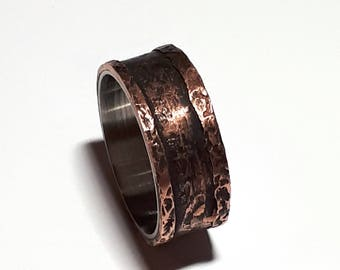Titanium Ring for Men, Rustic Copper Band,  Stainless Steel Band, Rustic Copper Ring