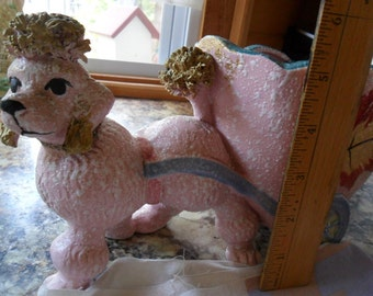 Vintage Adorable Pink Poodle Planter with Gold Hair - pulling cart