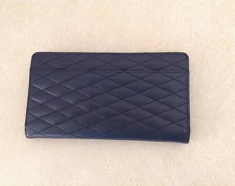 Barneys New York Genuine Leather Wallet In Dark Blue