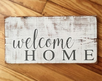 Welcome Home Sign/Welcome Sign/Rustic Wood Sign/Home Sweet Home/Modern Farmhouse Decor/Entryway Decor/Handpainted/Mother's Day Gift