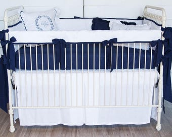 White and Navy Linen Bedding