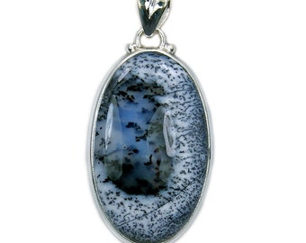 Dendritic Opal Pendant with Healing Properties Sterling Silver Pendant AG70 Jewelry Gift The Silver Plaza