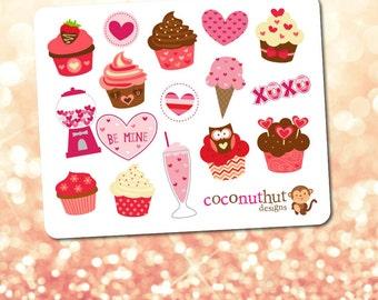 Valentine's Cupcakes & Sweet Treats Mini Planner Sticker Sheet