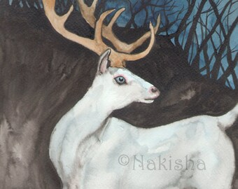 Original Art - The Star  - Watercolor Badger Painting -The Badgers Forest Tarot