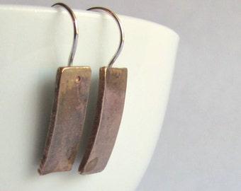 Modern Bronze Bar Earrings - Minimalist Earrings - Christmas Gift - Secret Santa - Gift Under 30 - 19th Anniversary Gift