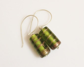 Green Lampwork Earrings with Sterling Silver Ear Wires, Green Glass Earrings