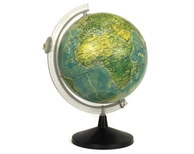 Vintage World Globe Desk Lamp. Illuminated Map Globe Lamp in French.