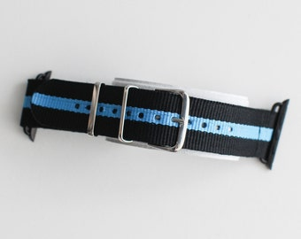 Apple Watch Replacement Band Strap for 42mm Apple Watch - Black/Light Blue stripe Nylon