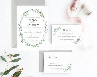 Floral Wedding Invitation Suite, Wedding Invitation Printable, Invitation Set, Wedding Invitation Rustic, PDF Letter or A4 (Item code: P228)