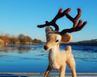 Christmas Deer Sculpture. Original Christmas Ornament Stag with Deer Antlers
