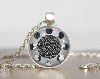 Moon Phases & the Flower of Life Pendant Necklace. Moon Necklace Flower of Life Necklace Watercolor Moon Sacred Geometry Moon Jewelry Grunge