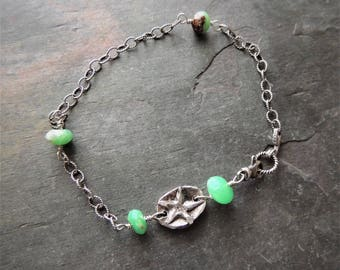 Anklet Bracelet, Silver Bracelet, Silver Anklet, Artisan Silver Link, Green Gemstones, Summer Jewelry, Oxidized Silver Chain, Rustic