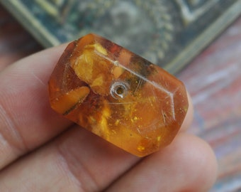Vintage natural Amber in resin. Jewelry part for your art project.