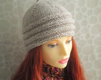 KNITTING PATTERN /BALMORAL Womans Tweed Wool Hat /Knit Round/ Womans knit hat pattern/Tweed wool hat pattern/womans beanie pattern