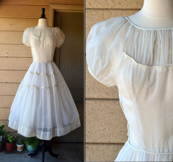 Fresh Start Dress | vintage 30's white swiss dots chiffon party dress | tiered puff sleeve | small med