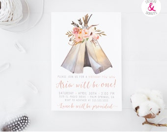 Boho Girl Birthday Invitation, Teepee, Pow Wow, Aztec Invitation for Girl First Birthday Invites [128]