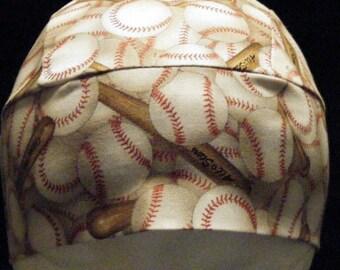Handmade Tan Skull or Chemo Cap w Baseballs and Bats, Hats, Baseball, Helmet Liner, Head Wrap, Motorcycle, Hair Loss, bald, Surgical, Sports