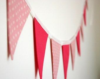 Mini Fabric Bunting - Pink Dots and Fuchsia Bunting, Photo Prop, Party Decor, Fabric Garland, Nursery Decor