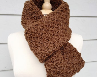 Brown crochet scarf, brown wool scarf, crochet wool scarf, mens scarf, womens scarf, gift for him, gift for her, mothers day gift