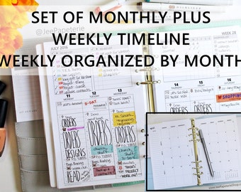 """Printed HALF-LETTER Size: SET of Monthly + Weekly *Directive* Hourly/Timeline Inserts, To-Do List & Tracking (5.5""""x8.5"""" fits into A5 binder)"""