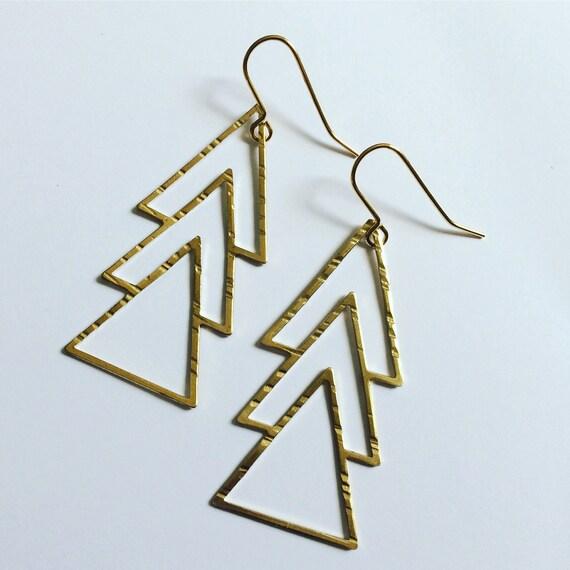 Triple Raw Brass Triangle Long Earrings - Art Deco - Gypsy - Geometric - Statement - Drop - Gold - Boho - Bohemian - Minimalist