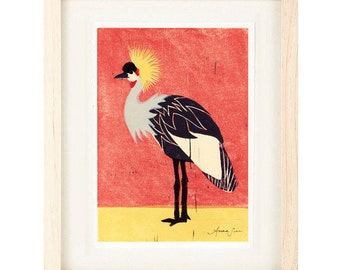 AFRICAN CROWNED CRANE Poster Size Linocut Reproduction Art Print: 8 x 10, 9 x 12, 11 x 14, 12 x 16