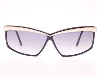 Revue Dama vintage black new waver ladies sunglasses with golden metal browline detail, NOS 80s