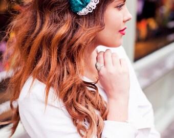 Teal Velvet Hair Bow, Velvet Bow Clip, Victoriana Gothic Fashion Accessory, Lolita Hair Bow