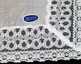 Vintage White Lace Bride's Wedding Handkerchief, Hankie, Hanky with Tags ~ 1208