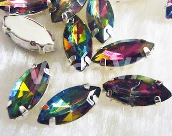 DIY Navette Marquise Sew On Rhinestones VM Vitrail Medium 20p 7mm x 15mm 4 hole Silver Montee Faceted Acrylic Glass Rhinestone Beads sewing