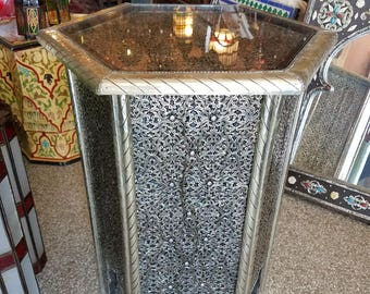 Metal Inlaid Moroccan Side Table.