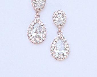 CZ Teardrop Bridal Earrings Bridesmaid Earrings Diamante Teardrop Cocktail Earrings