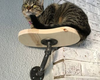Single Post Cat Perch | Wall Shelf | Wood Shelf | Climbing | Climber