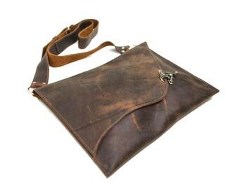 Leather Satchel - Messenger Bag -  Laptop Bag Carry Case - Rustic Bag