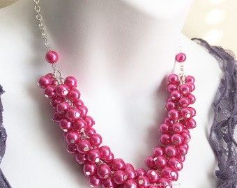 Bridal Jewelry Hot Pink Necklace Pearl Cluster Necklace Bridesmaid Gift Hot Pink Necklace Bridal Jewelry Fuchsia Necklace