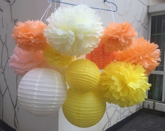 16 Pack Sunshine Yellow Party Tissue Paper Pom Poms Flowers Paper Lanterns Decoration Kit