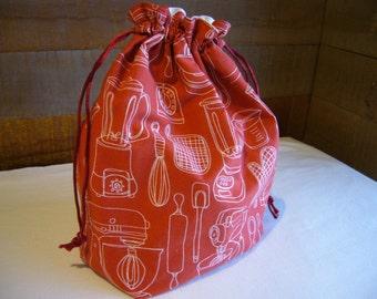 Knitting Project Bag - 100% Cotton - Knitter/Crocheter Drawstring Bag - Sock or Shawl Project Bag - Kitchen Gadgets