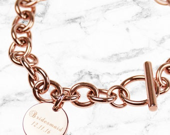Rose Gold curb link bracelet, engraved personalisation - Perfect personalised gift for your sister, bestie or Bridesmaid (Made in Australia)