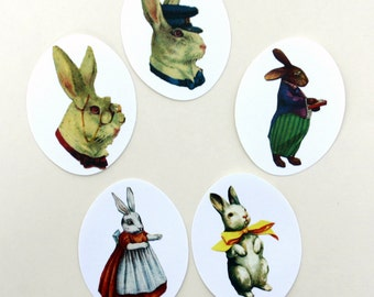 Rabbit Characters Stickers Assortment  Cute Vintage